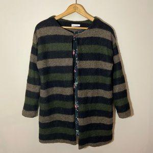 Sweaters - Nina Kendoza Paris striped long fuzzy sweater.